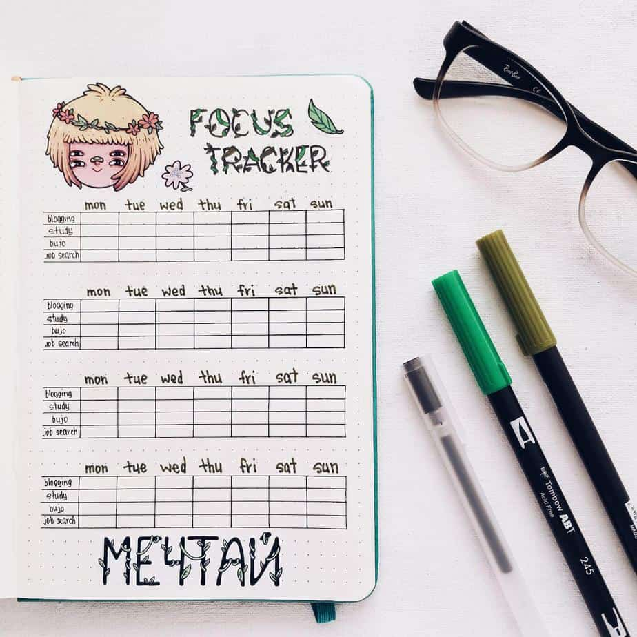 5 Must Have Bullet Journal Productivity Spreads - Focus Tracker | Masha Plans