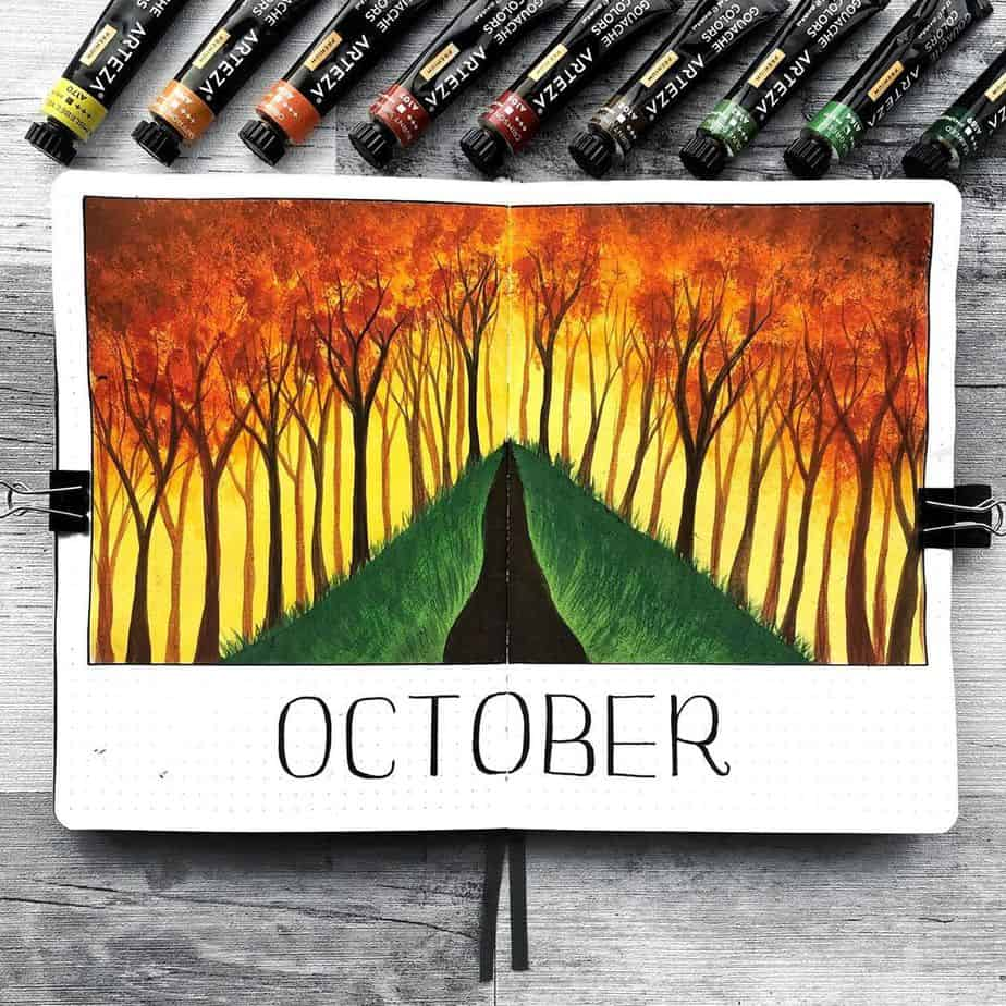 Fall Bullet Journal Theme Ideas - cover page by @hayleyremdeart | Masha Plans