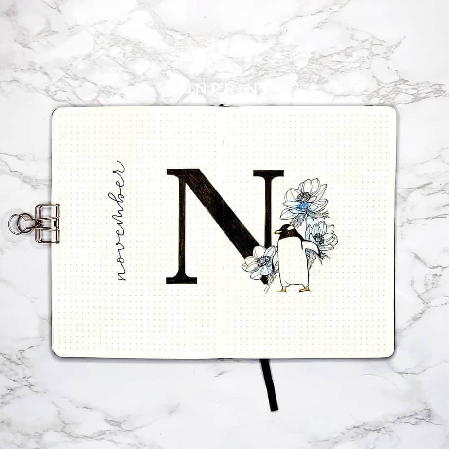 Winter Bullet Journal Theme Ideas - cover page by @inprint.xyz | Masha Plans