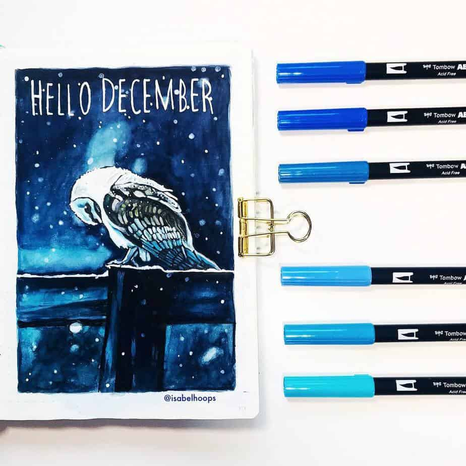 Winter Bullet Journal Theme Ideas - cover page by @isabelhoops | Masha Plans