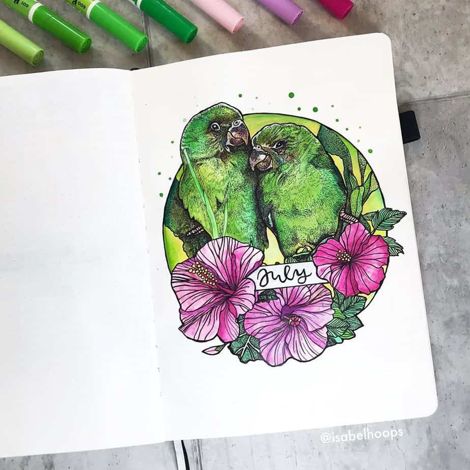 Summer Bullet Journal Theme Ideas - cover page by @isabelhoops | Masha Plans
