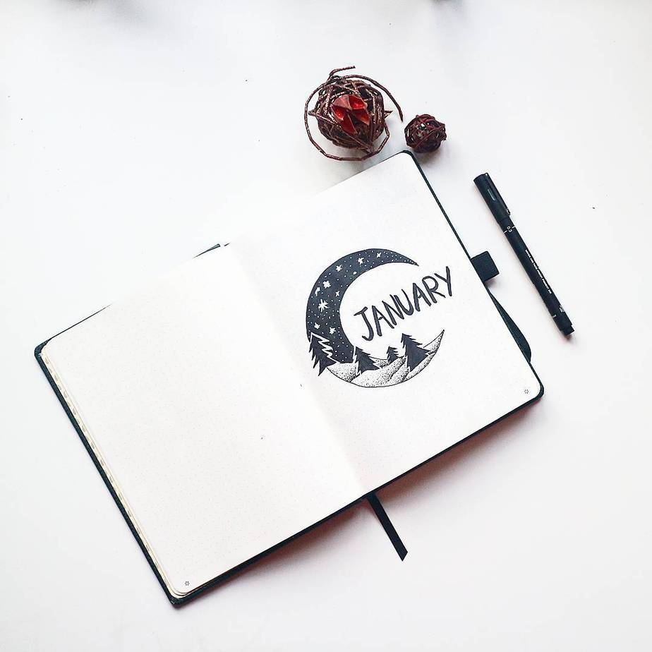 Winter Bullet Journal Theme Ideas - cover page by @mireeha | Masha Plans