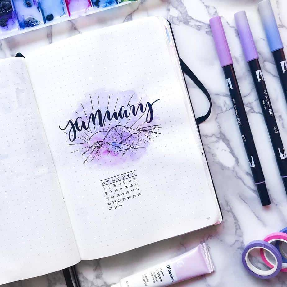 Winter Bullet Journal Theme Ideas - cover page @misfit.plans | Masha Plans