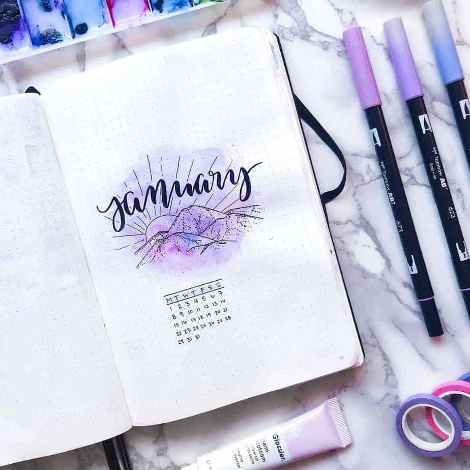 Winter Bullet Journal Theme Ideas - cover page @misfit.plans | Masha Plans
