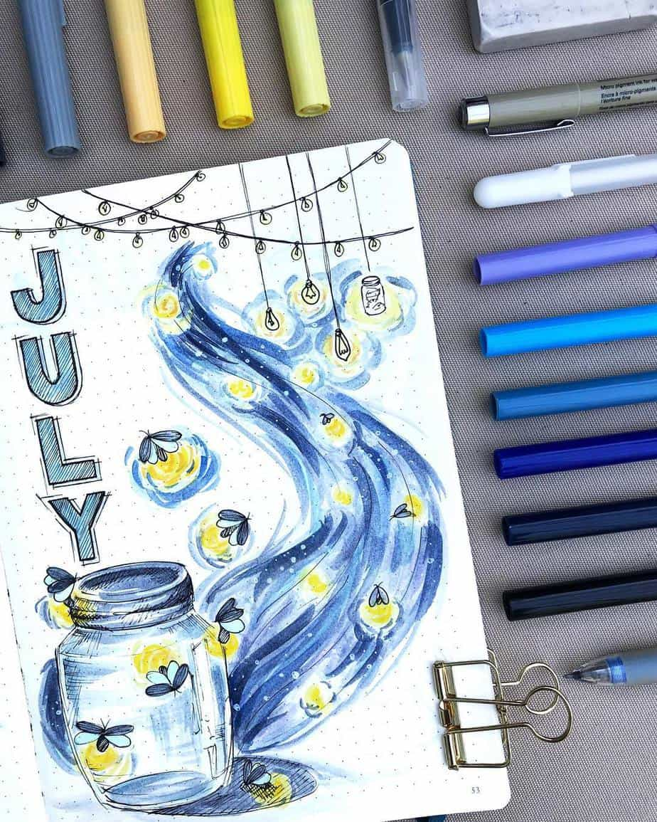 Summer Bullet Journal Theme Ideas - cover page by @paperflight.v | Masha Plans