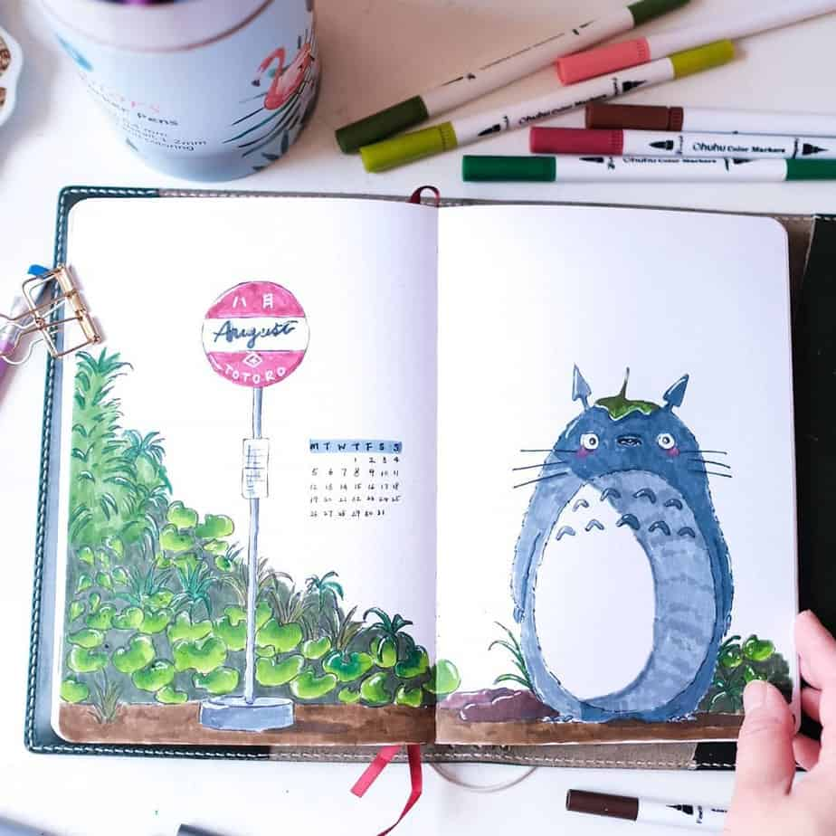 Bullet Journal Theme Ideas - spread by @pepperconarts | Masha Plans