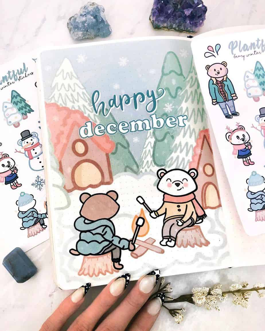 Winter Bullet Journal Theme Ideas - cover page by @plan.tful | Masha Plans