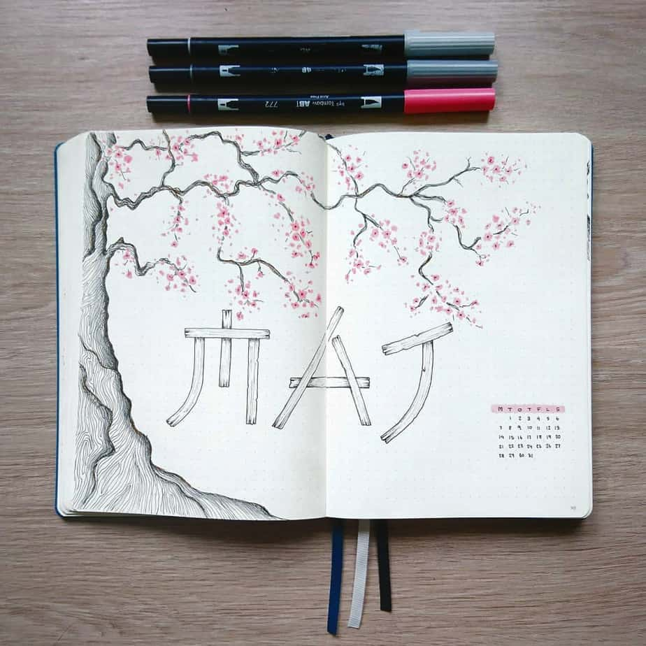 Spring Bullet Journal Theme Ideas - cover page by @plannerbynea | Masha Plans