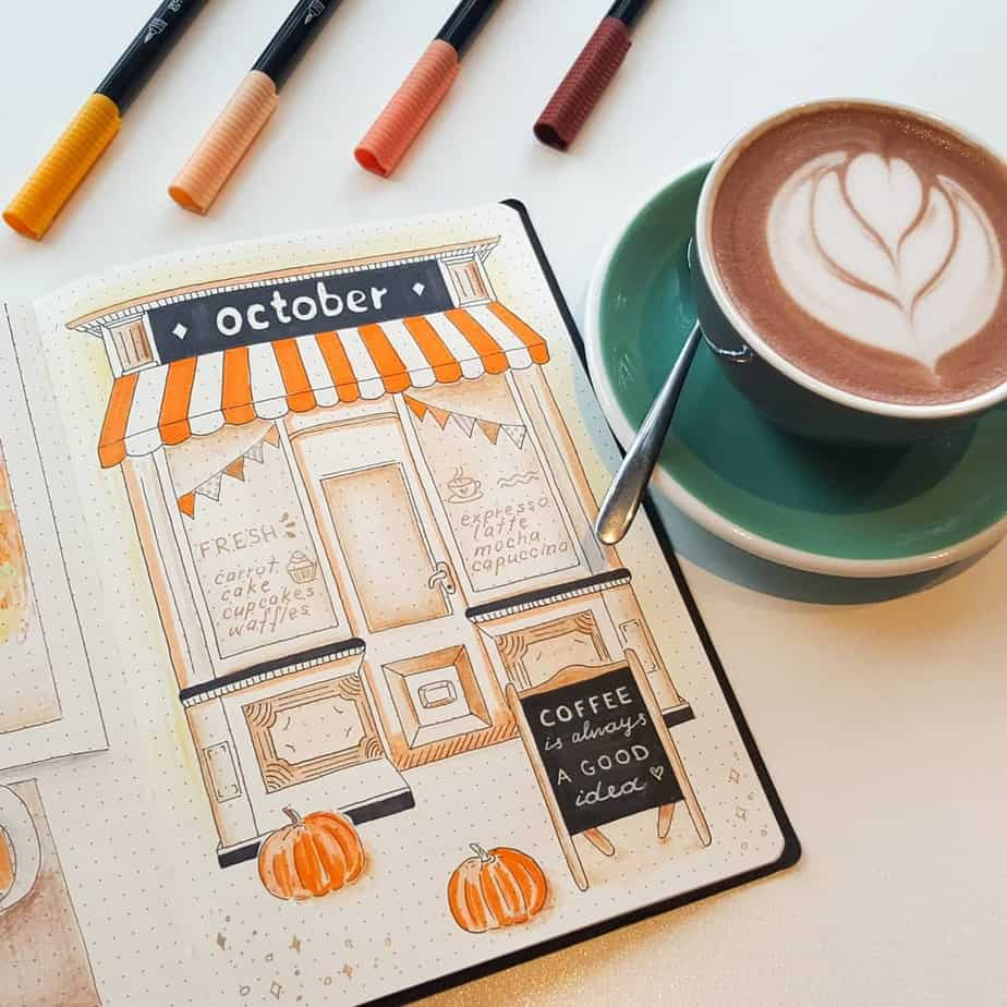 Fall Bullet Journal Theme Ideas - cover page by @sunshine_journal | Masha Plans