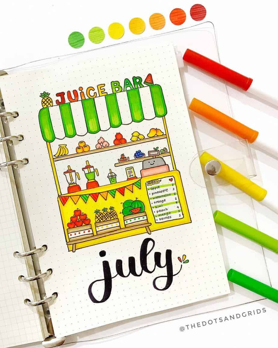 Summer Bullet Journal Theme Ideas - cover page by @thedotsandgrids | Masha Plans