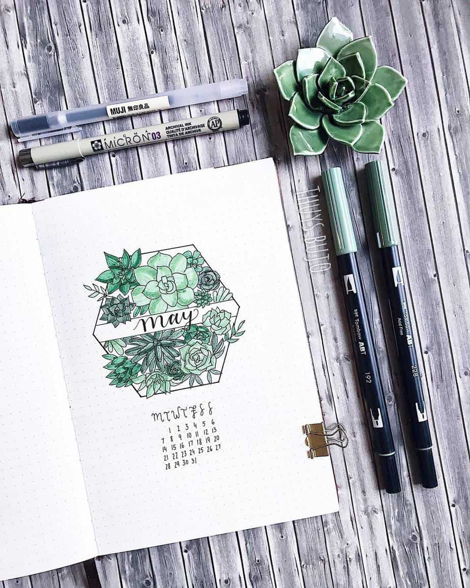 Spring Bullet Journal Theme ideas - cover page by @thuys.bujo | Masha Plans