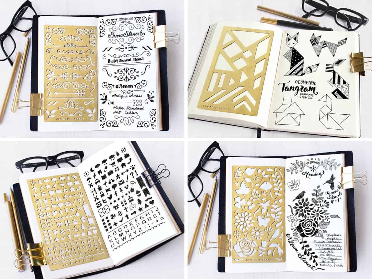 5 Easy Bullet Journal Decoration Ideas - stencils | Masha Plans