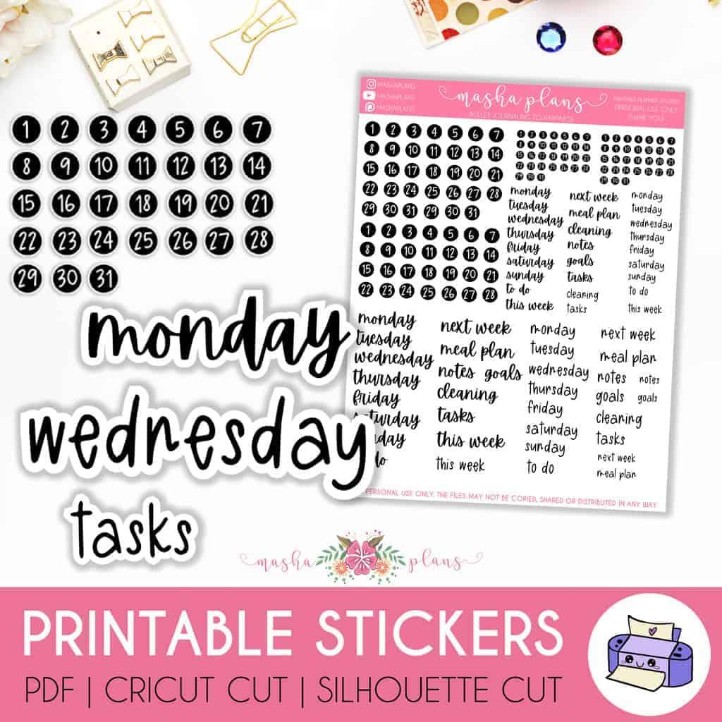 Functional Printable Planner Stickers | Masha Plans