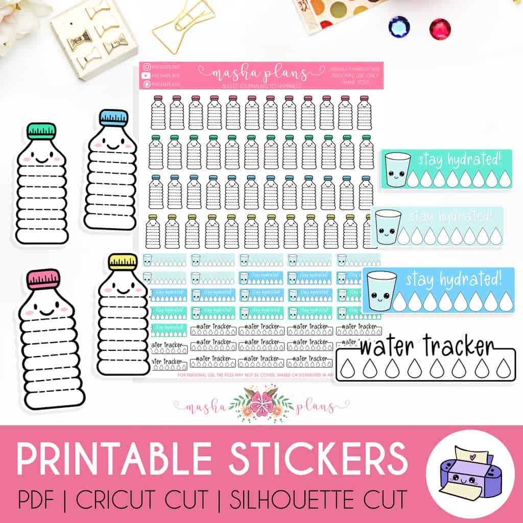 Printable Water Tracking Stickers | Masha Plans