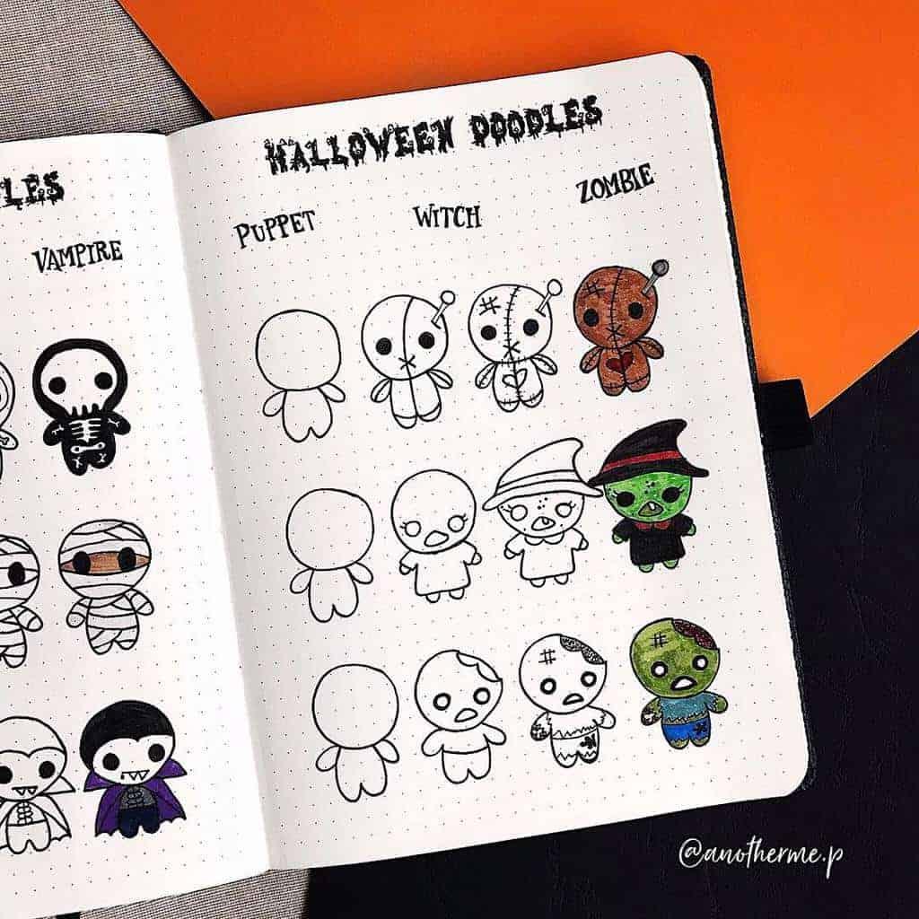 Halloween Bullet Journal Doodles by @anotheme.p | Masha Plans