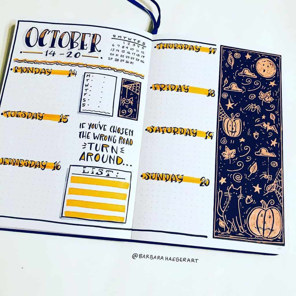Halloween Bullet Journal Inspirations - weekly log by @barbarahaegerart | Masha Plans