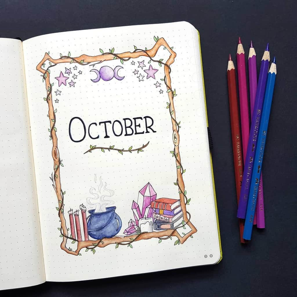 Halloween Bullet Journal Inspirations - cover page by @birdybujo | Masha Plans