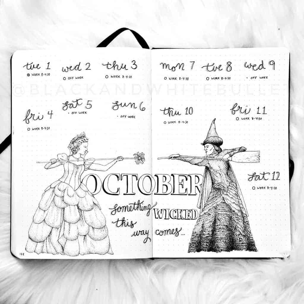 Halloween Bullet Journal Weekly Spread by @blackandwhitebullet | Masha Plans