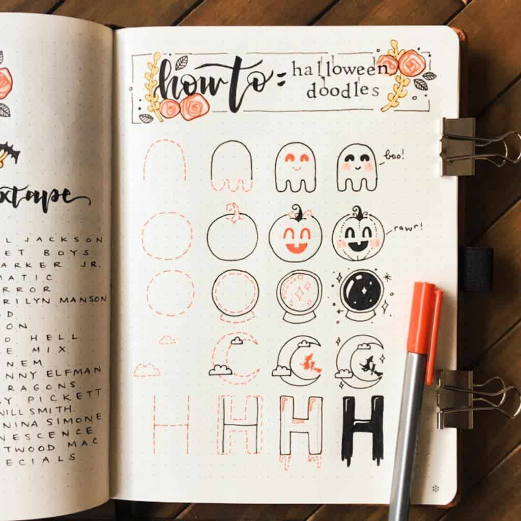 Halloween Bullet Journal Doodles by @bujowithbecky | Masha Plans