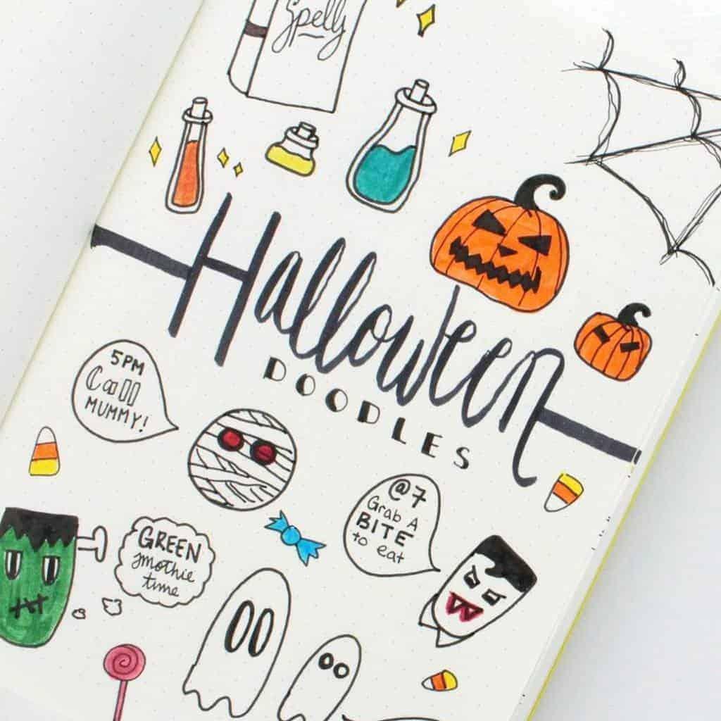Halloween Bullet Journal Doodles by @caitlinmariedasilva | Masha Plans