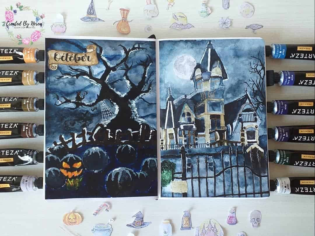 Halloween Bullet Journal Theme Inspirations - cover page by @created_by_nerea | Masha Plans