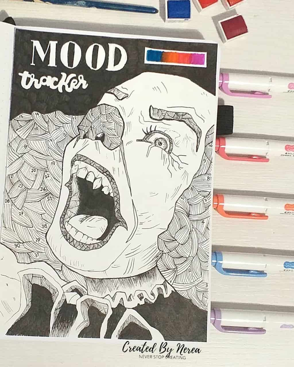 Halloween Bullet Journal Theme Inspirations - mood tracker by @created_by_nerea | Masha Plans