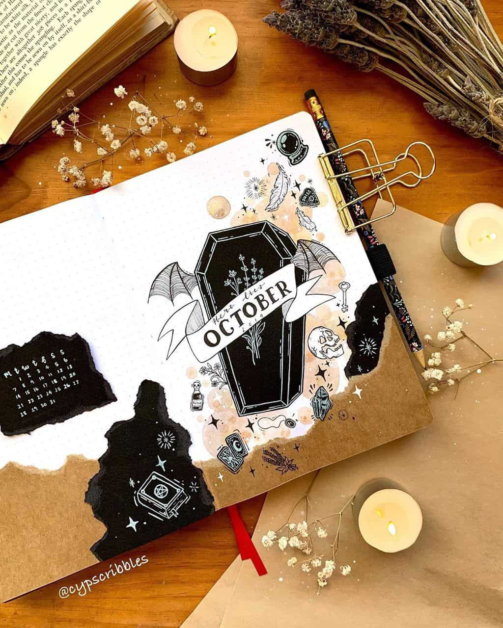 Halloween Bullet Journal Inspirations - cover page by @cypscribbles | Masha Plans