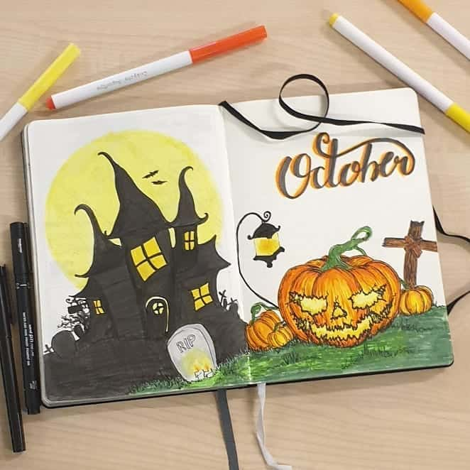 Halloween Bullet Journal Theme Isnpirations - cover page by @danielle_nightingale | Masha Plans