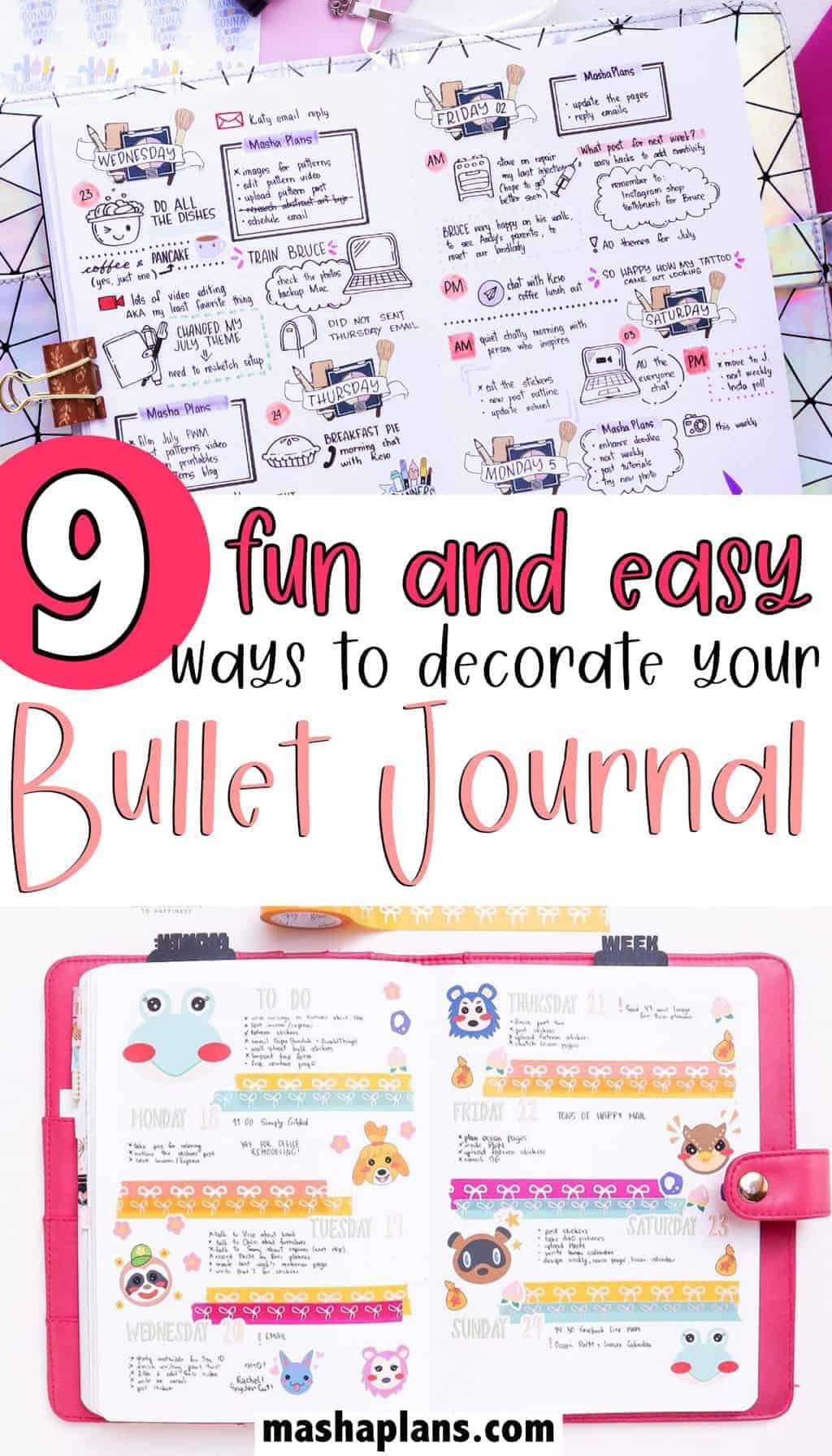 9 Fun and Simple Bullet Journal Decoration Ideas | Masha Plans