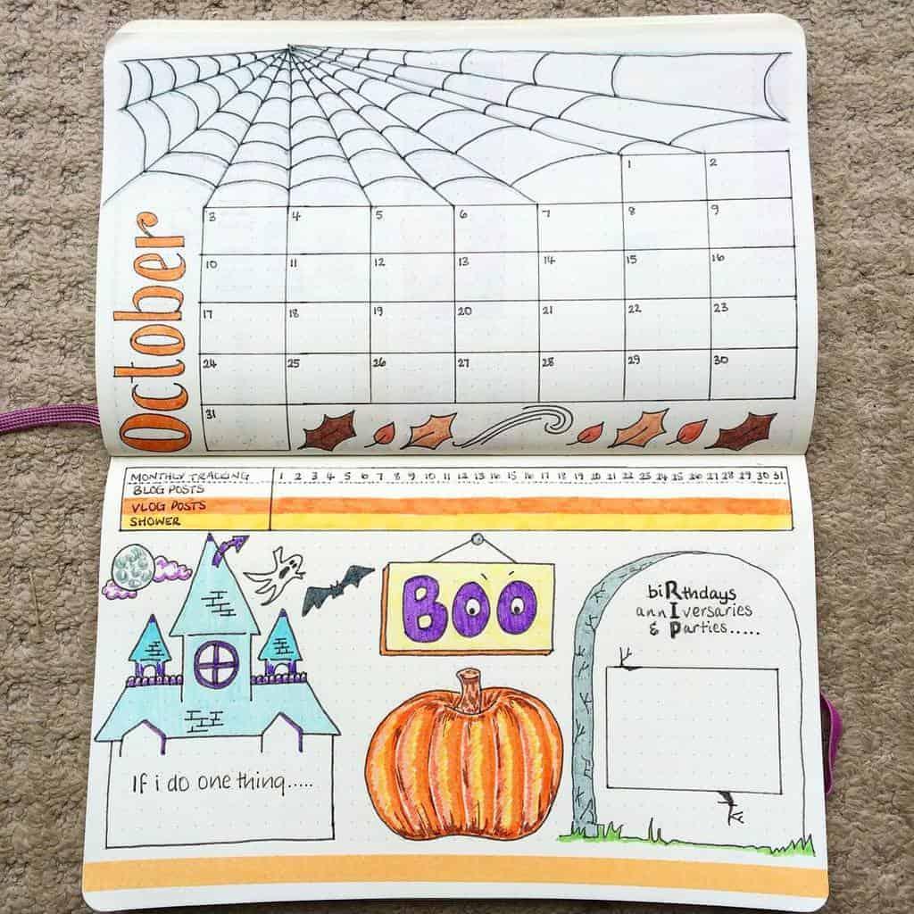 Halloween Bullet Journal Theme Inspirations - monthly log by @doodledaydarlings | Masha Plans