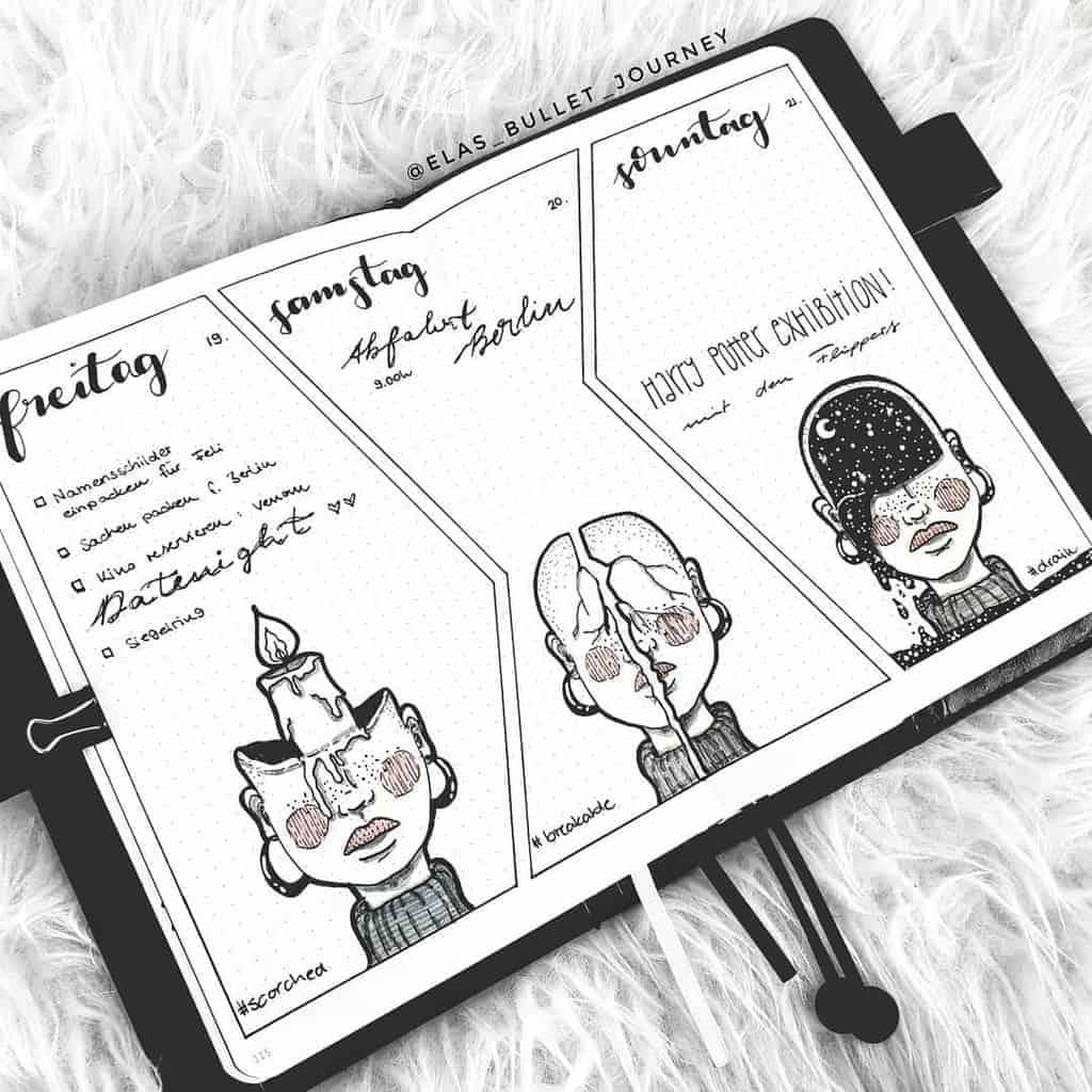Halloween Bullet Journal Inspirations - weekly spread by @elas_bullet_journey | Masha Plans