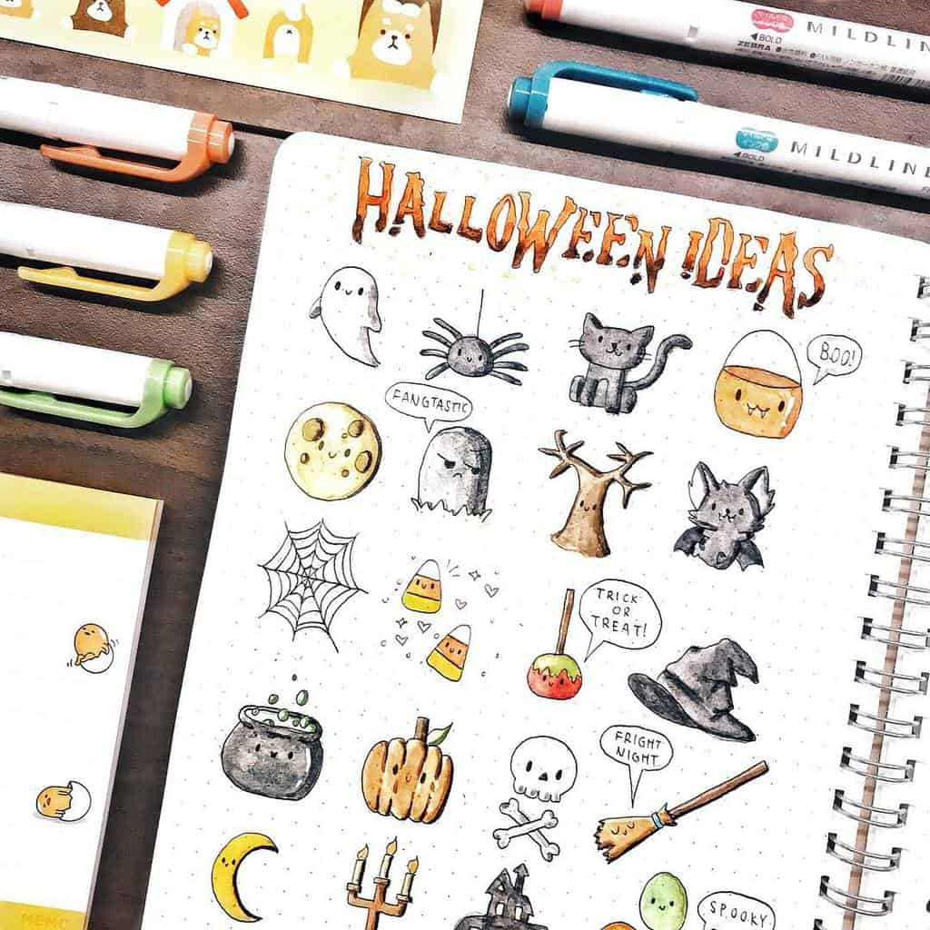 Halloween Bullet Journal Doodles by @elise.studies | Masha Plans