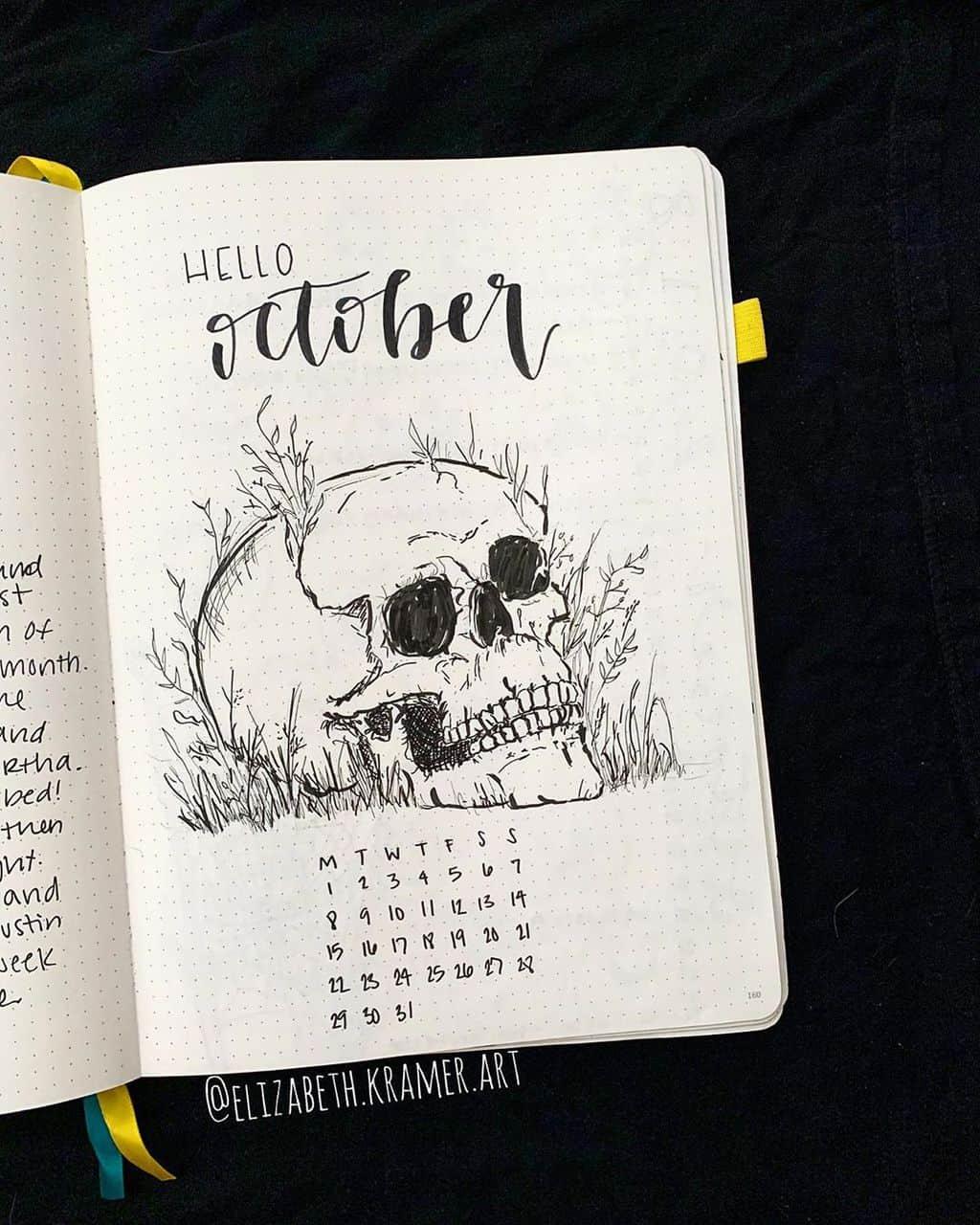 Halloween Bullet Journal Theme Inspirations - cover page by @elizabeth.kramer.art | Masha Plans