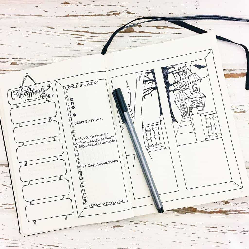 Halloween Bullet Journal Theme Inspirations - monthly log by @evamariemade | Masha Plans