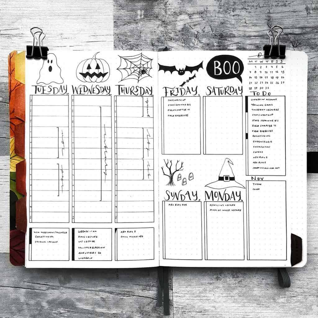Halloween Bullet Journal Weekly Spread by @hayleyremdeart | Masha Plans