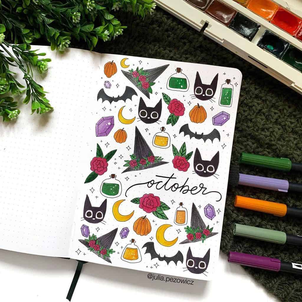 Halloween Bullet Journal Inspirations - cover page by @julia.pezowicz | Masha Plans