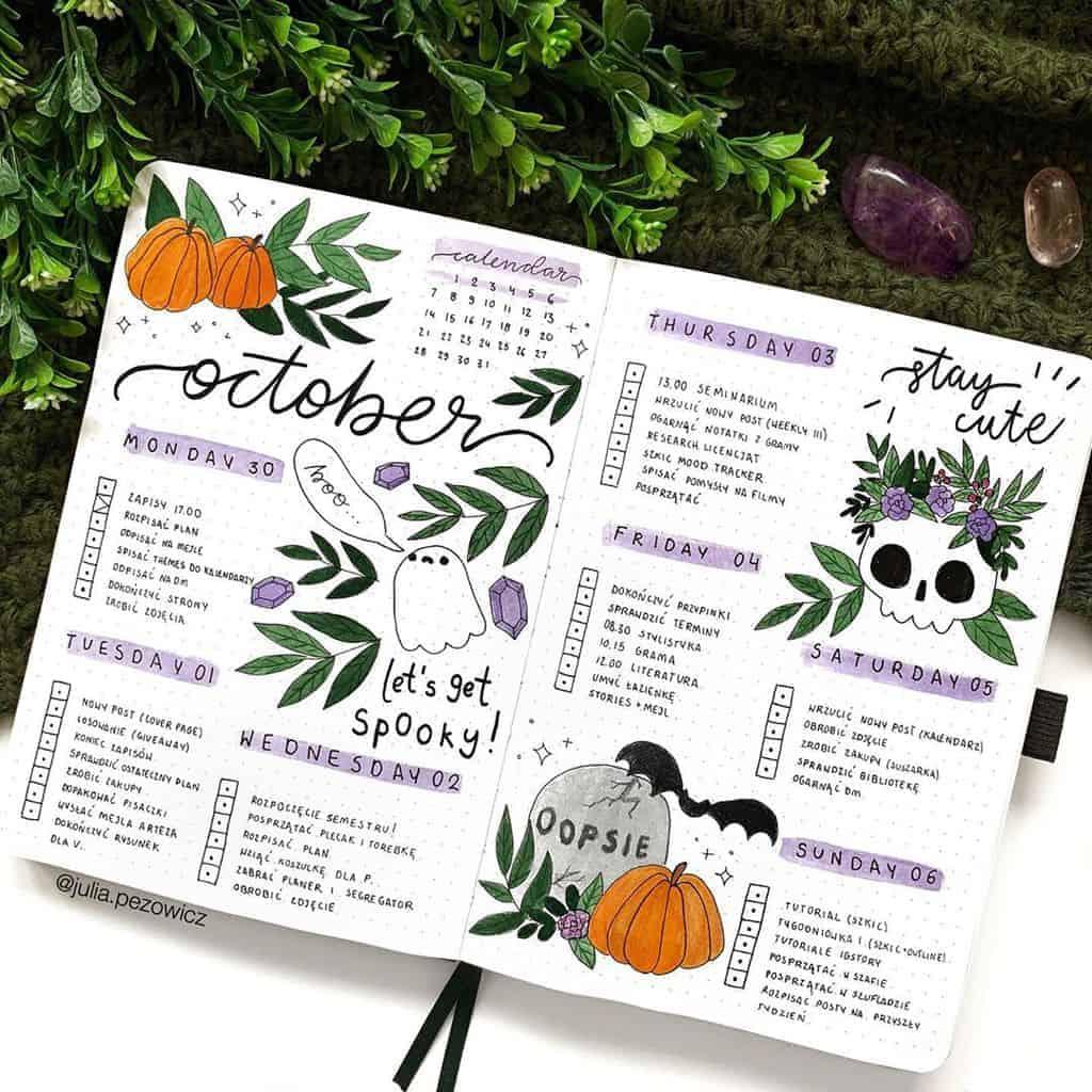 Halloween Bullet Journal Inspirations - weekly spread by @julia.pezowicz | Masha Plans