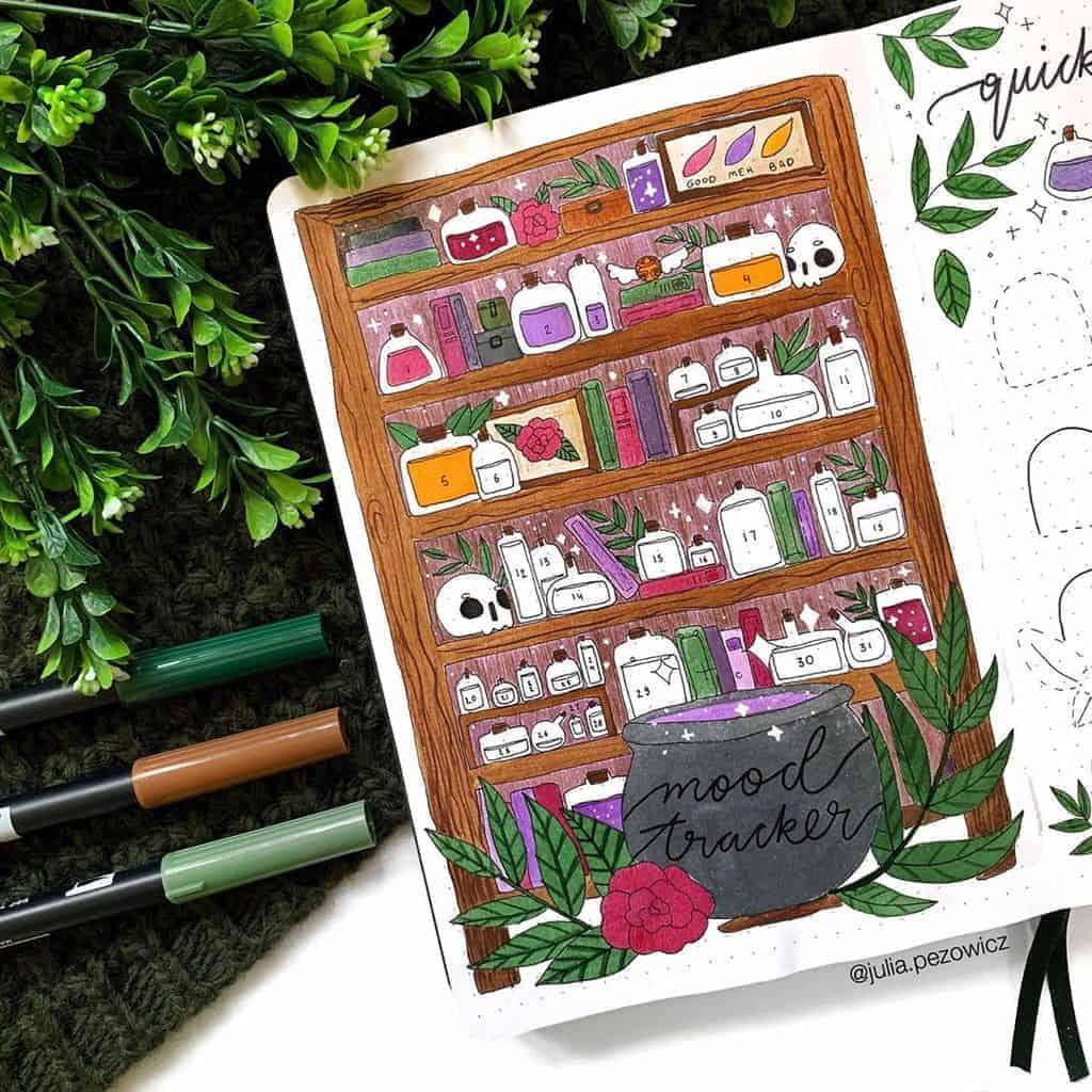Halloween Bullet Journal Inspirations - mood tracker by @julia.pezowicz | Masha Plans