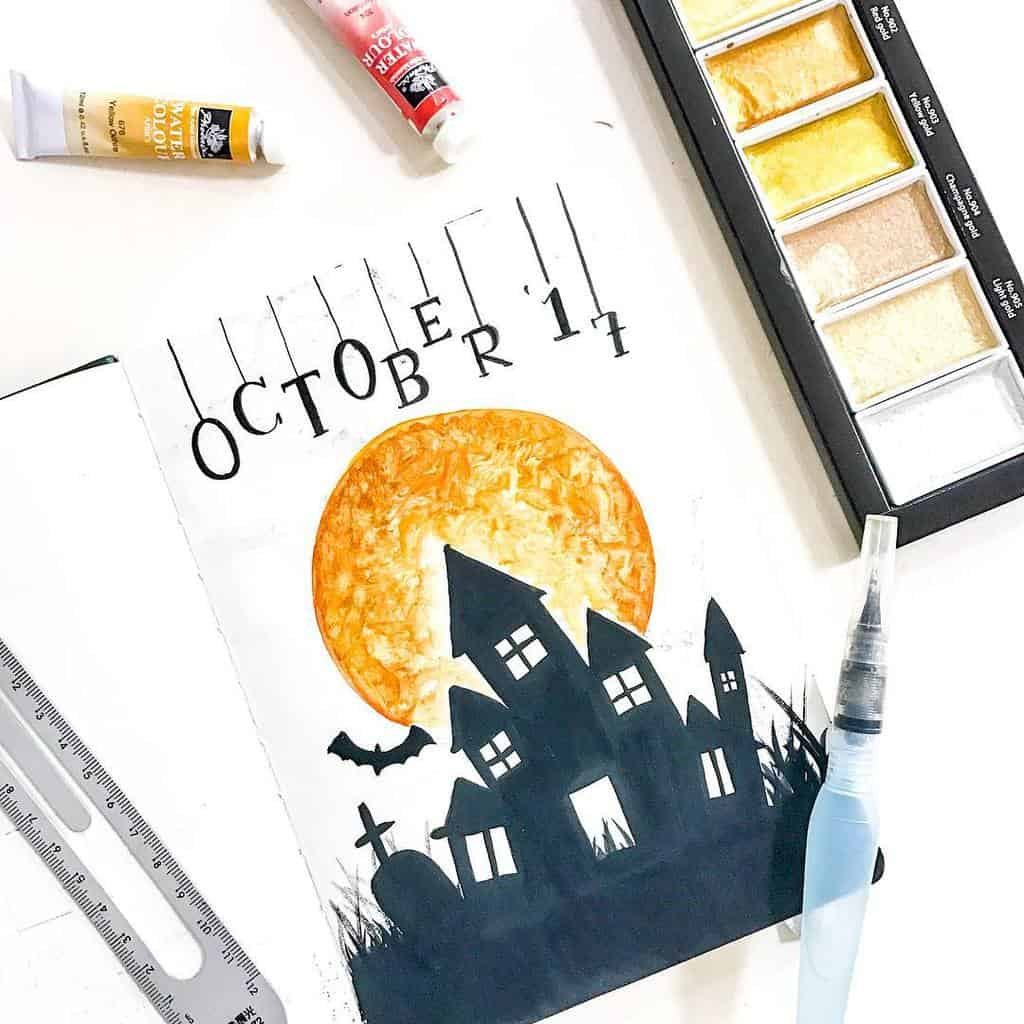 Halloween Bullet Journal Inspirations - cover page by @kim_artventures | Masha Plans