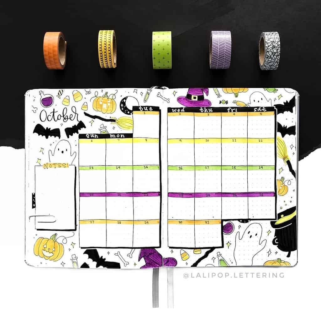 Halloween Bullet Journal Theme Inspirations - monthly log by @lalipop.lettering | Masha Plans