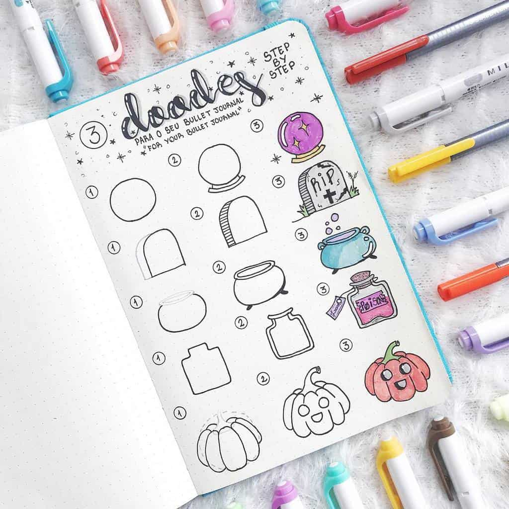 Halloween Bullet Journal Doodles by @lasirenailustra | Masha Plans