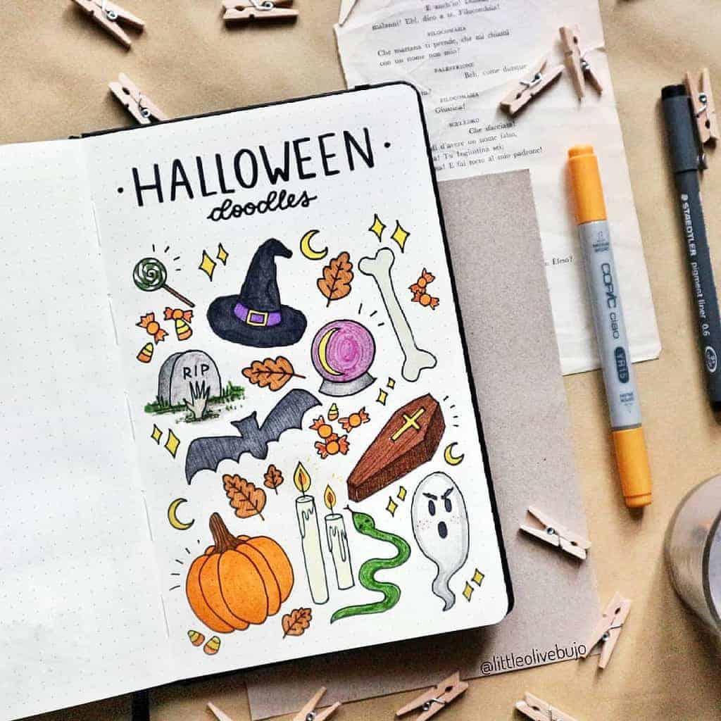 Halloween Bullet Journal Doodles by @littleolivebujo | Masha Plans