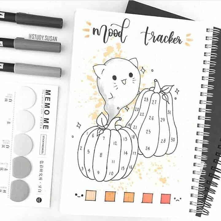 Halloween Bullet Journal Theme Inspirations - mood tracker by @moochi.studies | Masha Plans