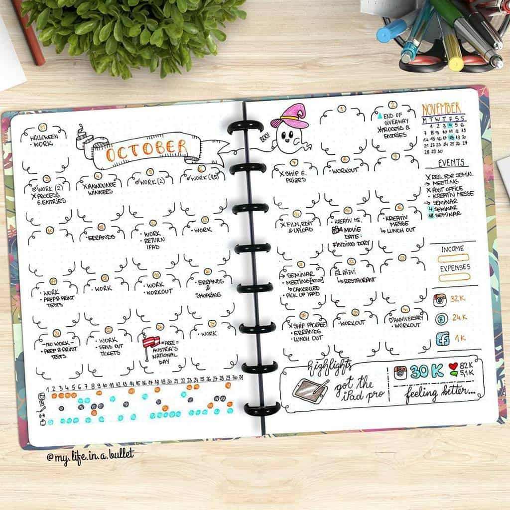 Halloween Bullet Journal Inspirations - monthly log by @my.life.in.a.bullet | Masha Plans