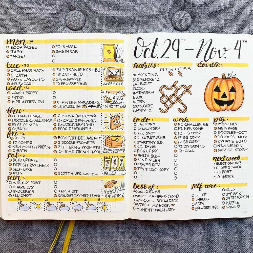 Halloween Bullet Journal Theme Inspirations - weekly spread by @plansthatblossom | Masha Plans