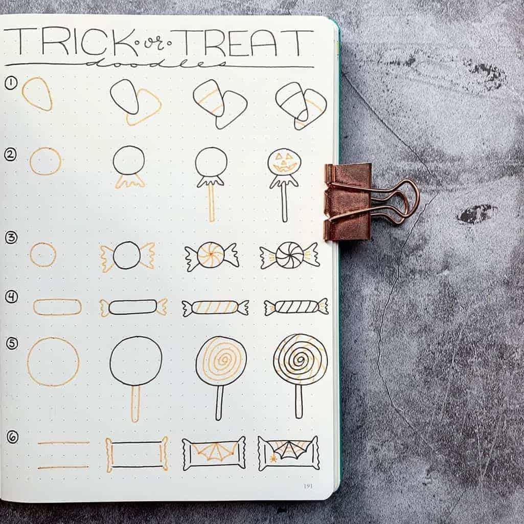 Halloween Bullet Journal Doodles by @plansthatblossom | Masha Plans