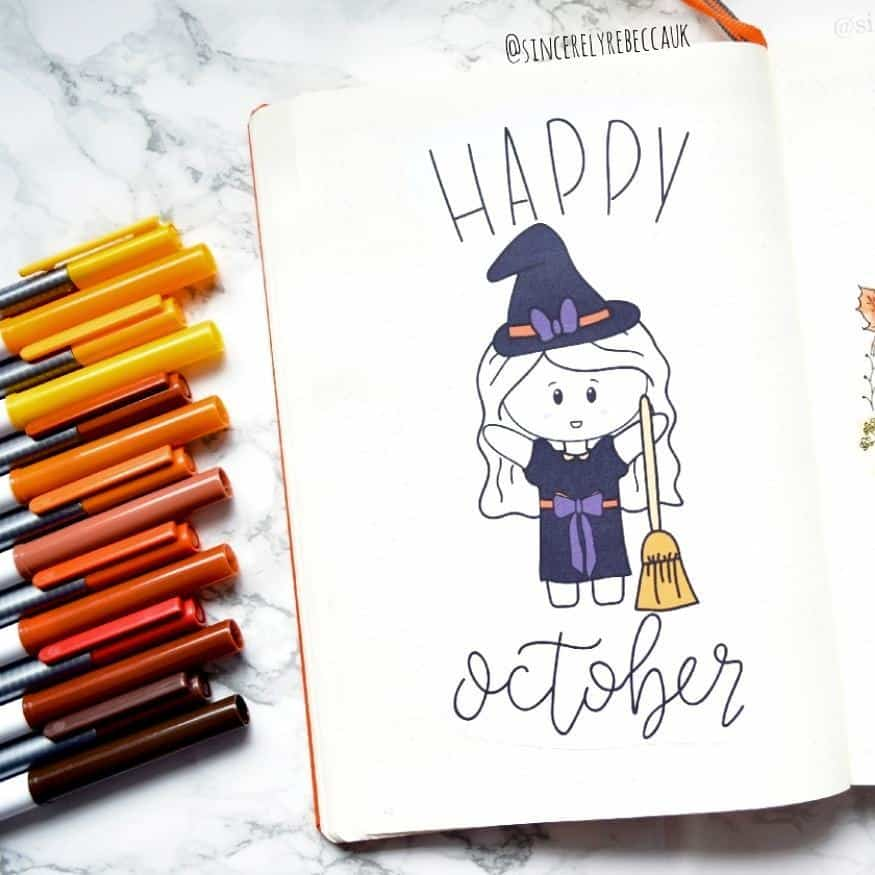 Halloween Bullet Journal Theme Inspirations - cover page by @sincerelyrebeccauk | Masha Plans