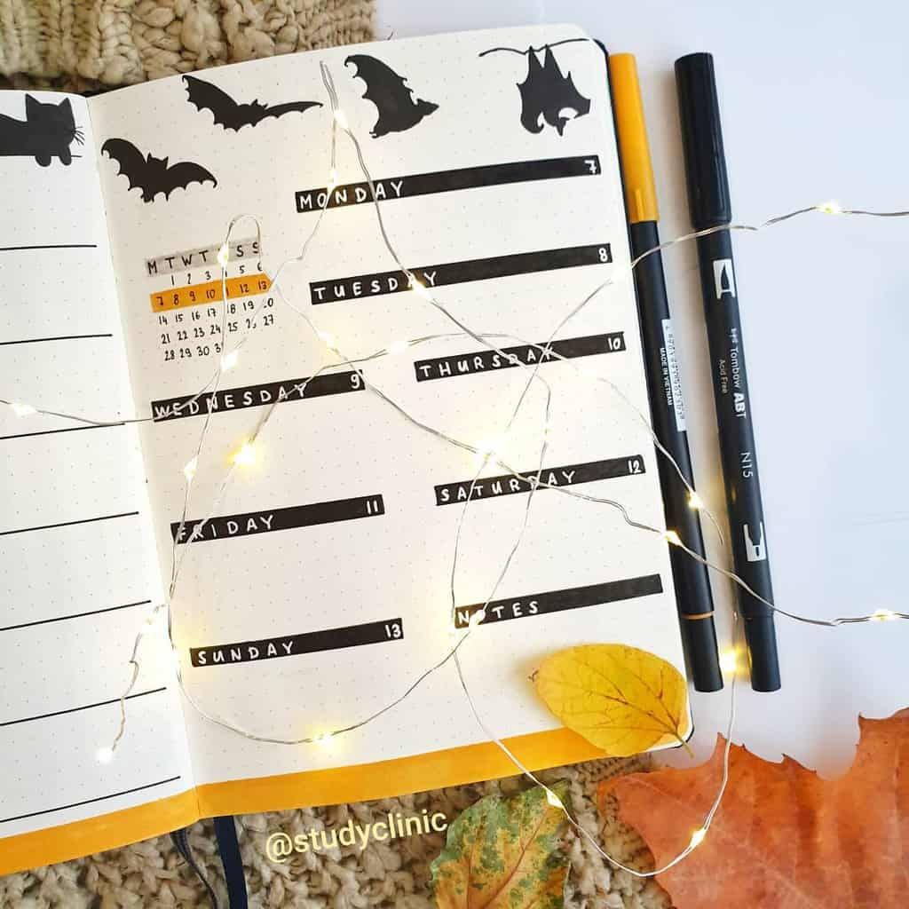 Halloween Bullet Journal Isnpirations - weekly spread by @studyclinic | Masha Plans