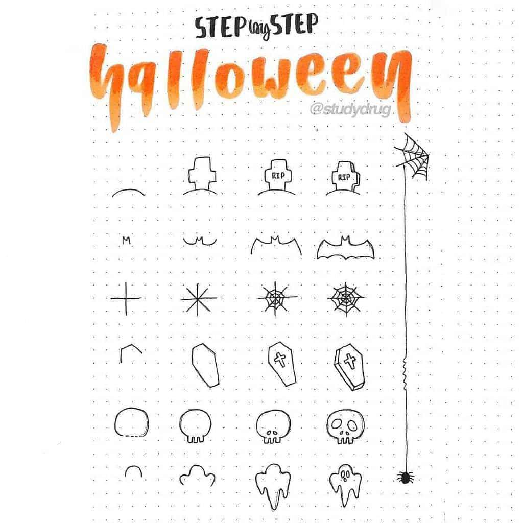Halloween Bullet Journal Doodles by @studydrug | Masha Plans