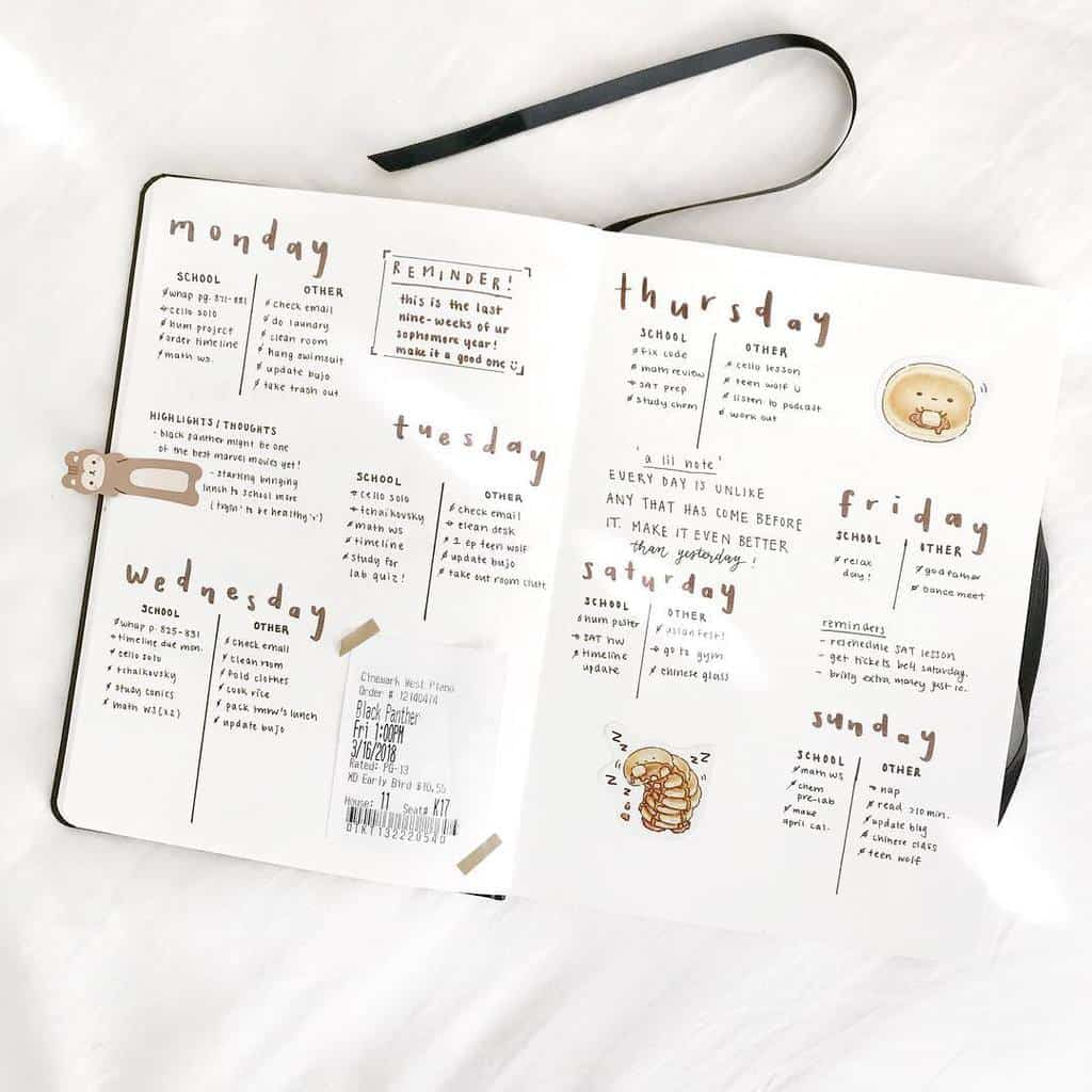 Minimalist Bullet Journal Weekly by @cafe.studyy | Masha Plans